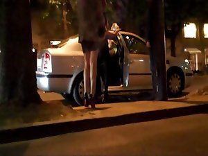 A sneaky leg loving peeping tom films two or three hotties getting into a taxi