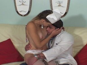 Slender ebony nurse gulping hard for doctor huge cock