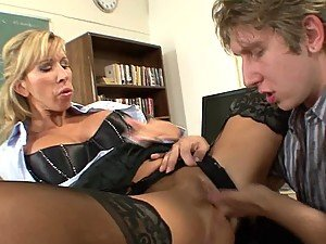 Professor Porn Star Morgan Gives Her Students 'A's if They Make Her Cum!