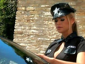 Outdoors Lesbian Sex with a Hot Blonde Cop and a Sexy Blonde Secretary