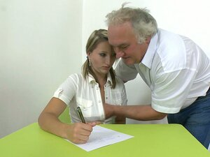 Bad student Kira gets punished by her elderly teacher