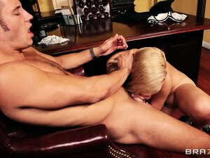 Blonde office worker tit-fucks and blows her man as foreplay