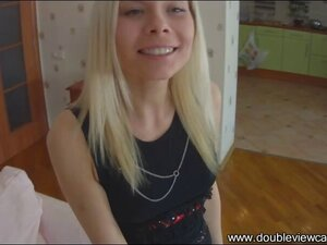 This fabulous blond teen in nylon stockings moans when her tight ass is stuffed with hard meat