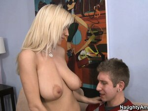 Stacked blonde milf Haley Cummings seduces a young guy in order to satisfy her needs