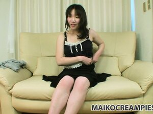 Sparse, long hair bush and nice tits on Aki as she strips and soaps up