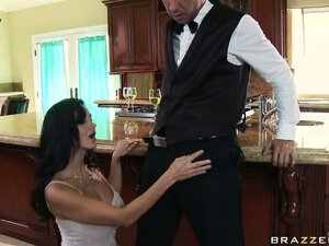 Slutty housewife enjoys a taste of her hung butler in the kitchen