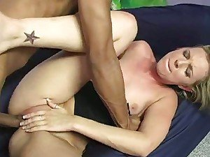Blonde babe tasted big black cock for first time