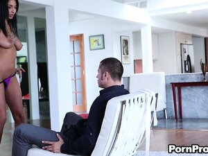 Exceptionally beautiful brunette Anissa Kate sits on the Mr. Big Dick