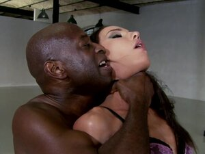 Dark-haired skinny Nataly Gold fuck with black