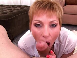Short-haired mom gives a deep blowjob