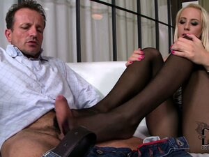He loves the way his babe's feet feel on his cock - whether bare or in nylons