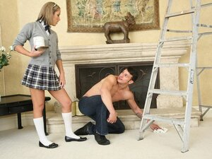 A school going teen seduces the painter while her parents away and shags him