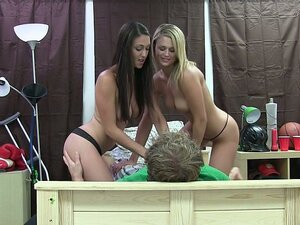 Two horny college girls share a cock