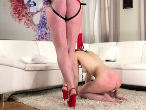 Naughty blonde slave is leashed and analized by her mistress wearing a strap-on