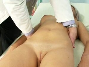 Teen hotty Sabina visiting her old gyno Doctor to have taut pussy examined