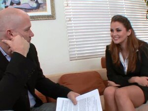 Lovely brunette allie haze fucks her job interviewer in office