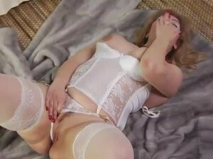 Fatty in white lingerie plowed in two holes