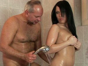 Old Cock Bathing and Banging a Hot Brunette Teen and Her Shaved Snatch