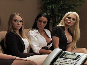 Four Hot big-boob office sluts fuck boss' big-dick in office
