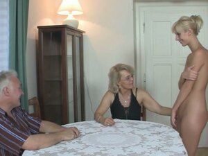 His gf and parents in hot threesome !