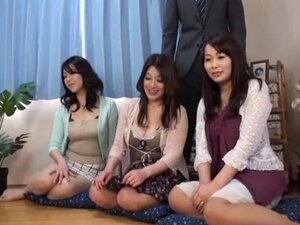 Three busty milfs let two guys play with their amazing boobs