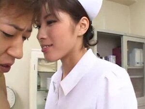 Japanese nurse jerks him off to erection