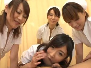 Four sexy Japanese nurses give great pleasure to a guy