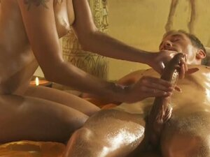 Hot babe gives lucky dude erotic massage