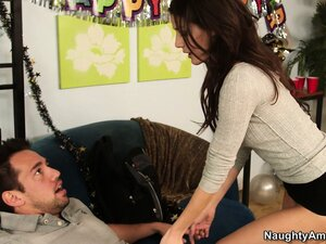 Jenni Lee pulls his prick out of his pants for a blowjob then gets licked