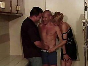 Two gays guys invite their pretty older neighbor to have a MMF threesome