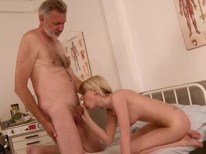 Cute blonde Candy Lover enjoys multiposition sex with an old dude