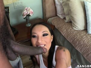 Asa Akira, an Asian goddess with flawless big tits, goes for the black cock experience