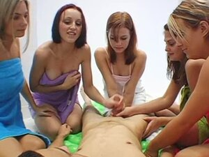 A group of lovely hotties have found a fella to play with