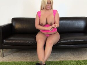 Chunky blonde Julie Cash is interviewed and shows off her big ass