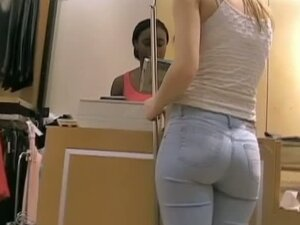 A fuckable blonde gets followed around in the department store by a voyeur