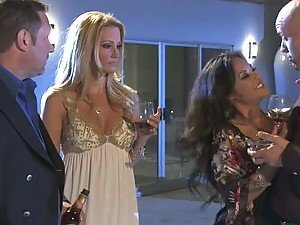 Blonde Jessica Drake and Asian Kaylani Lei Swap Husbands In Orgy