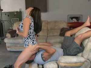 Dominant wife demands for lazy husband to lick her horny cunt