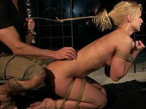 Blonde chick is tied up and dominated in hardcore bdsm