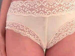 Blonde teases in lace boyshort panties