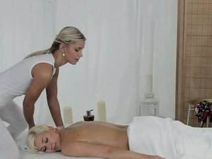 Blonde on blonde lesbian sex on massage table