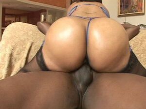 A black babe with a breathtaking hiney has it pumped hard by a big black choad
