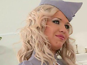 Blonde Air Hostess Takes Two Cocks In Her Loose Holes