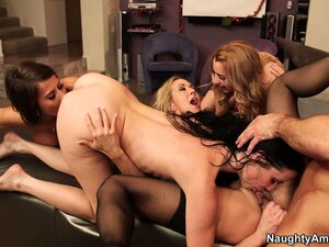 Brandi Love gets filled by her stripper then he cums on all of them