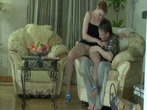 Redhead milf in stockings and heels gets pussy pounded