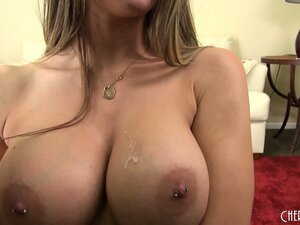 Busty babe Rachel savors the taste of her cunt on her fingers and on that dildo