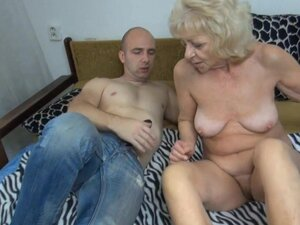 Blonde granny takes black fake cock