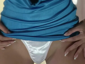 Shiny satin panties against her pussy
