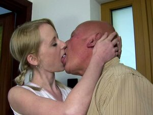 Old Bald Guy Having Sex with Pretty Blonde Pigtailed Teen