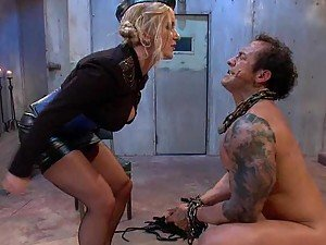 Dominant Blonde Spanking and Face Sitting a Submissive Guy
