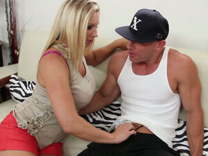 Busty momma Devon Lee flirts with buld headed boy